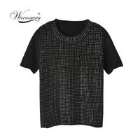 Summer Short Sleeve Shiny Gemstones Black Pullovers Women Bead Punk t shirts Lady Fashion High Street Rhinestones Tops C 051