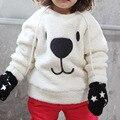 Inverno Miúdos Bonitos Do Bebê de Manga Comprida Camisola Tops Tripulação Pescoço Dos Desenhos Animados Urso hoodies do Pulôver Ocasional Engrossar Algodão Quente meninos menina