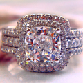 Queen Brilliance 2 Carat Cushion Princess Cut Wedding Enagement Ring Set For Women ,NSCD Simulated Diamond  Wedding Ring Set