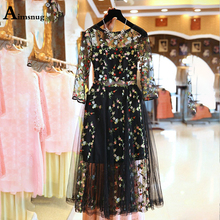 Fashion Mesh 2019 Summer Sexy Half Sleeve Lace Women Dresses Embroidery Splice Beach Casual Vintage Vestidos female the Dress