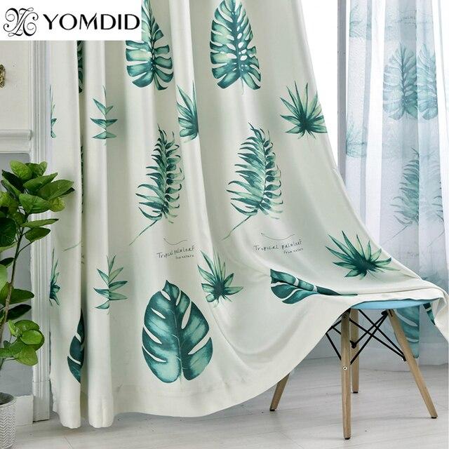 Cotone pastorale tende di lino foglie verdi piante tropicali tenda tulle per la cucina soggiorno - Tende in lino per cucina ...