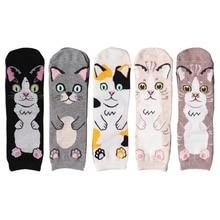 Wholesale 60 Pairs Harajuku Cotton Women Socks Cat Face Pattern Socks Personality Chaussette Femme Calzini Women Socks
