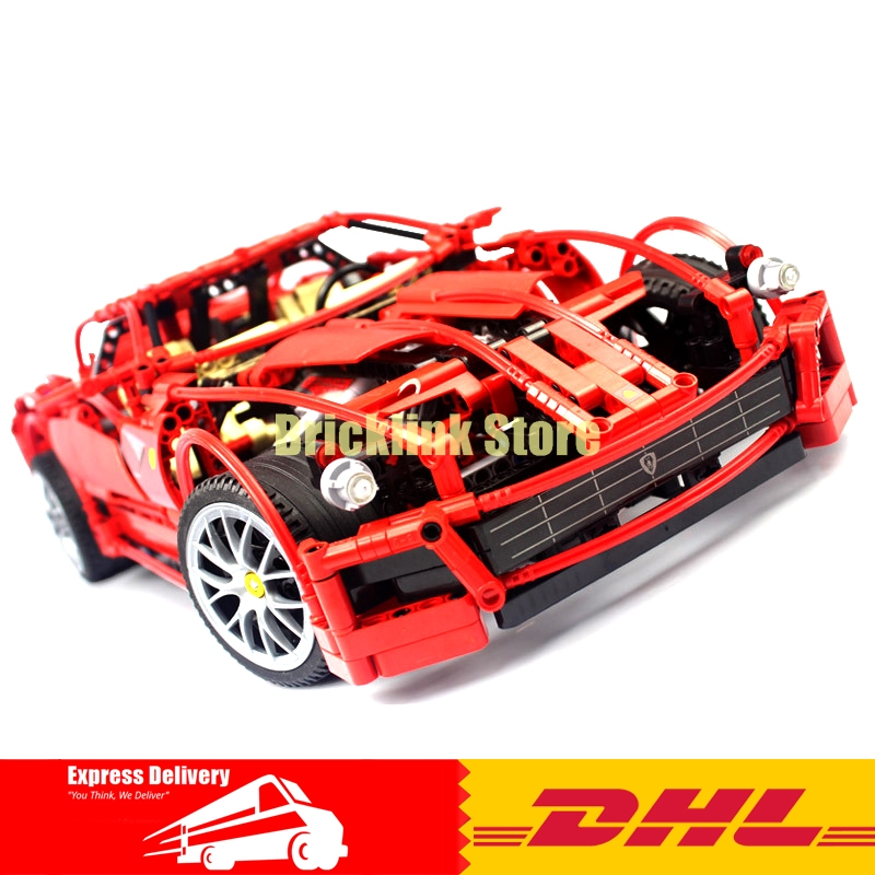 DHL DHL Decool 3333 Building Blocks Toy 1:10 Car Model Supercar Red Assemblage Racing Brain Game Gift Clone 8145 in stock new lepin 21009 fxx 1 17 toy building blocks 632pcs technic racing sports car supercar model boy gift compatible 8156