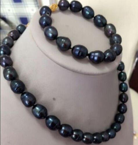 Femmes cadeau mot amour expédition>>>>> 8-10 MM noir collier de perles d'eau douce Bracelet ensemble
