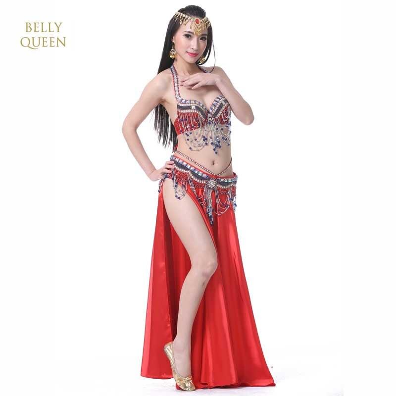 Oriental Style Rhinestone Bra+Belt+Skirt Belly Dance 3pcs Costume Set Stage Performance Luxury Belly Dancing Egyptian Costumes