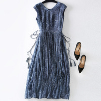 LILASHORN 2019 New Summer Luxury Real Silk Dress European and American V Neck Bohemian Style Loose Long Dresses for Women