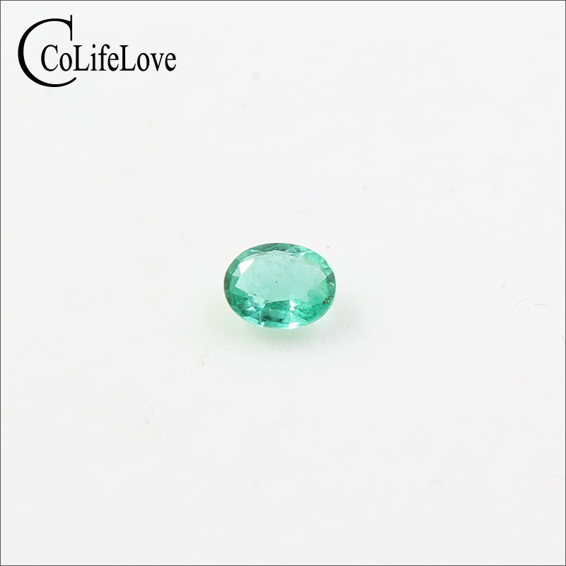 Real 4mm * 5mm Oval Cut Emerald Loose Gemstone For Wedding Ring Natural Emerald Loose Stone