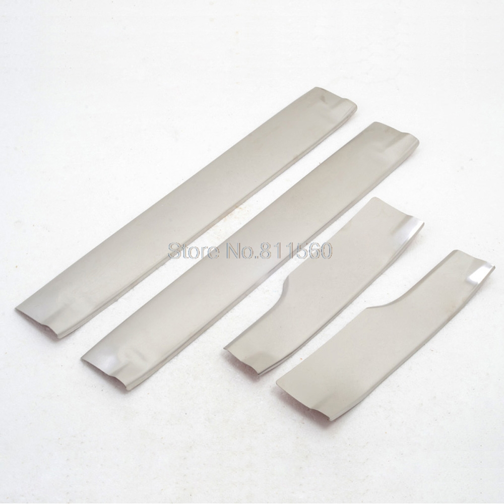 For KIA Sportage 2011-2014 stainless steel Side Door Protector pedals Scuff Plate Guards Sills trim 4pcs car stickers mouldings