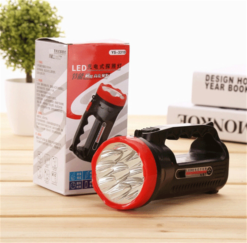 9LED hand-held flashlight led rechargeable spotlight hunting portable charging outdoor camping field lantern searchlight