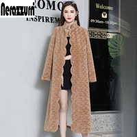Nerazzurri Winter real fur coat 2019 winter Scallop trim colored sheep fur coats plus size sheared lamb fur overcoat 5xl 6xl 7xl