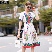 Dress Summer Woman 2019 New Fashion Printed V-Neck Short Sleeves Slim A-Line All-Matched Simple Casual Dress Knee Length S-XL цена