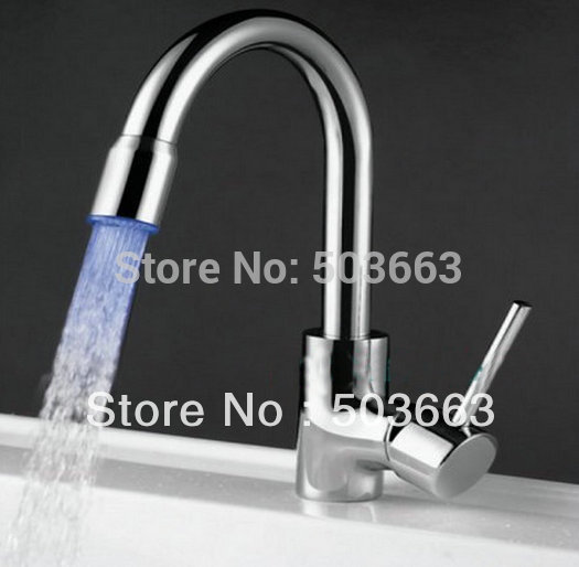 Led kitchen faucet mixer tap 3 colors b083 Mixer Tap Faucet