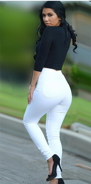 Popular White High Waisted Skinny Jeans-Buy Cheap White High ...