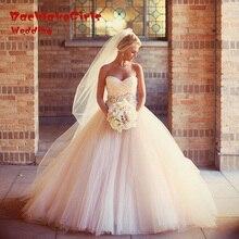New sexy sweetheart neck wedding dress 2017 Custom made elegant pleat champagne wedding gowns robe de mariee vestido de noiva