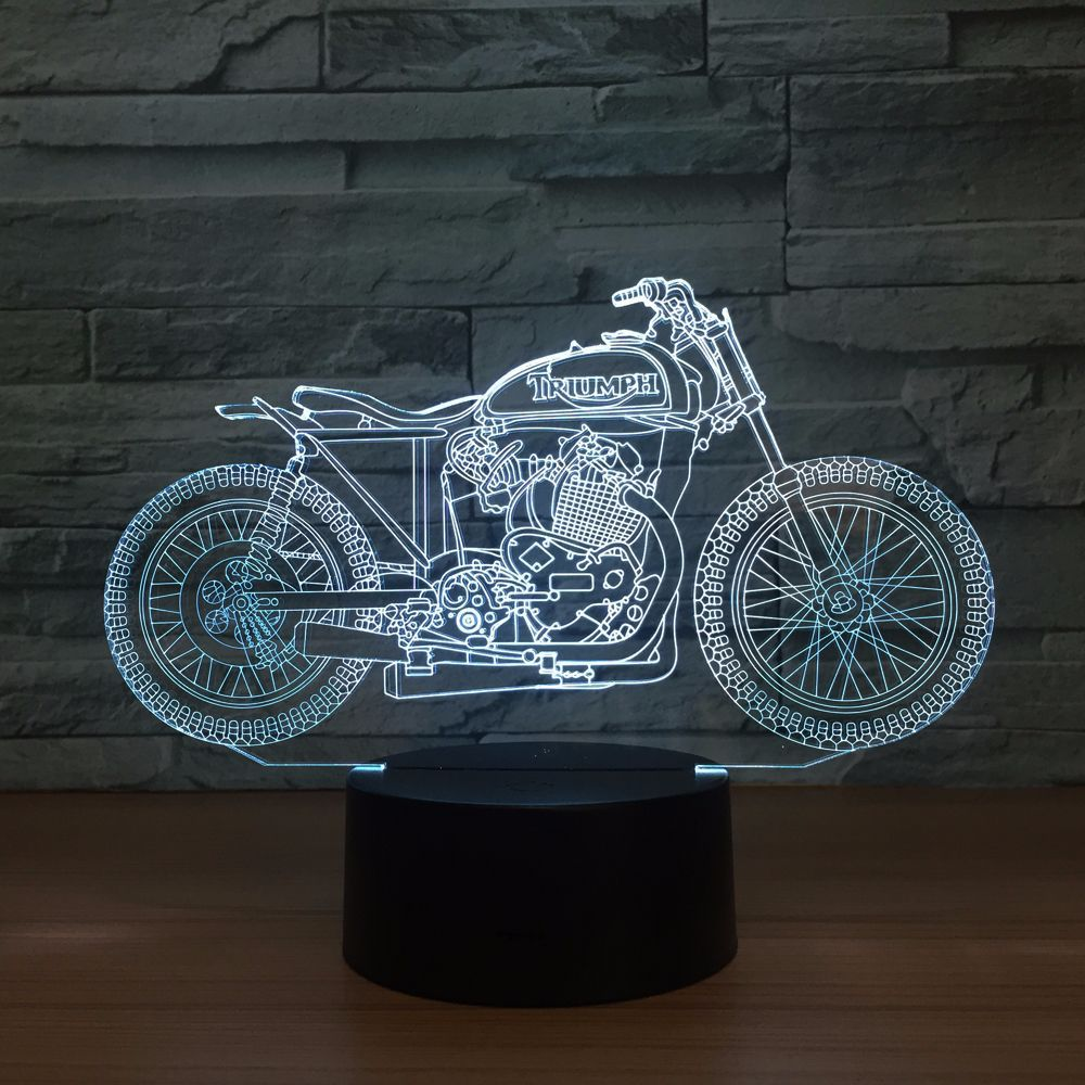 Motorcycle touch illusion change color 3D night light LED visual stereoscopic table lamp <font><b>1342</b></font> image