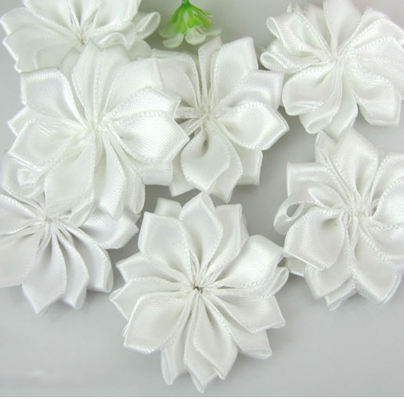 20pcs white satin artificial flowers fabric flower applique crafts 20pcs white satin artificial flowers fabric flower applique crafts wedding hair accessories sewing decorations 40cm mightylinksfo