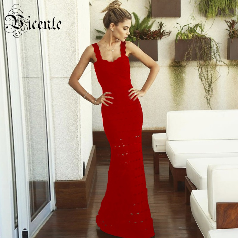 2018 New Free Shipping! High Quality Elegant Sexy Hollow Out Sleevless Celebrity Party Women Wholesale Bandage Maxi Long Dress