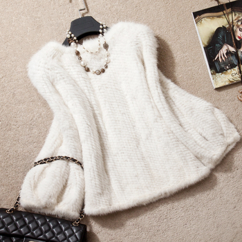 2014 Winter 100% Real Women's Mink Fur Knitted Coat White Colour Natural Mink Fur Jacket SU-14086 EMS Free Shipping 1