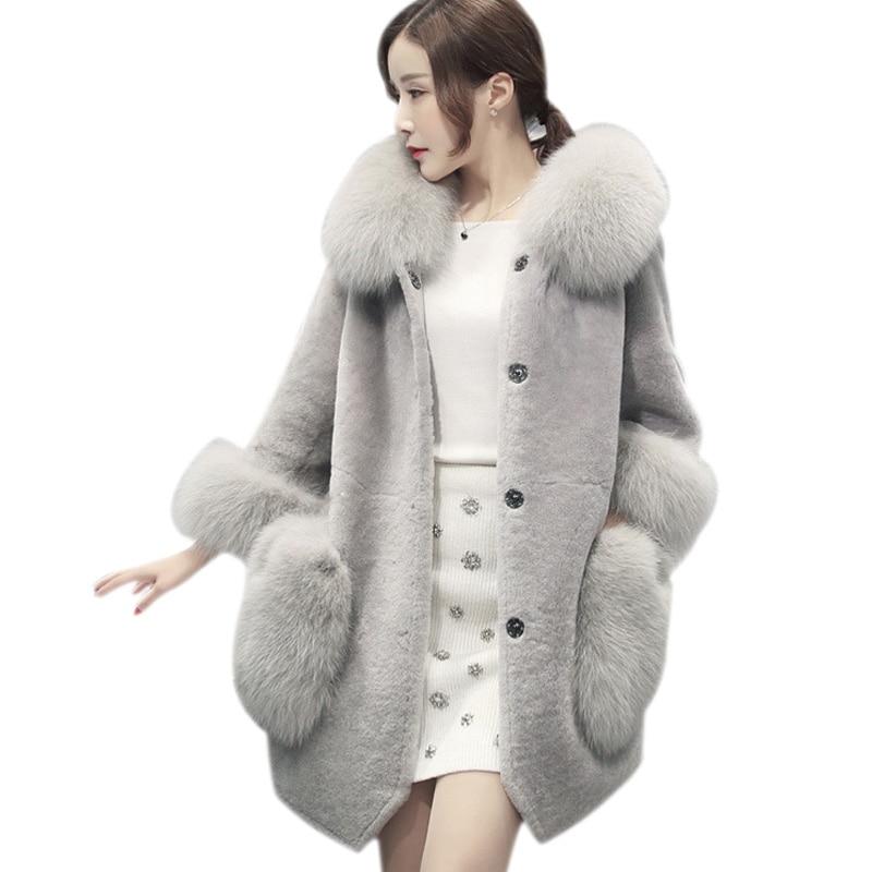 2018 מינק מעילי נשים החורף חדש האופנה גריי פו פרווה אלגנטי מעיל עבה חם מוצרי הלבשה תחתונה מעיל פרווה מזויף Chaquetas Mujer woc11