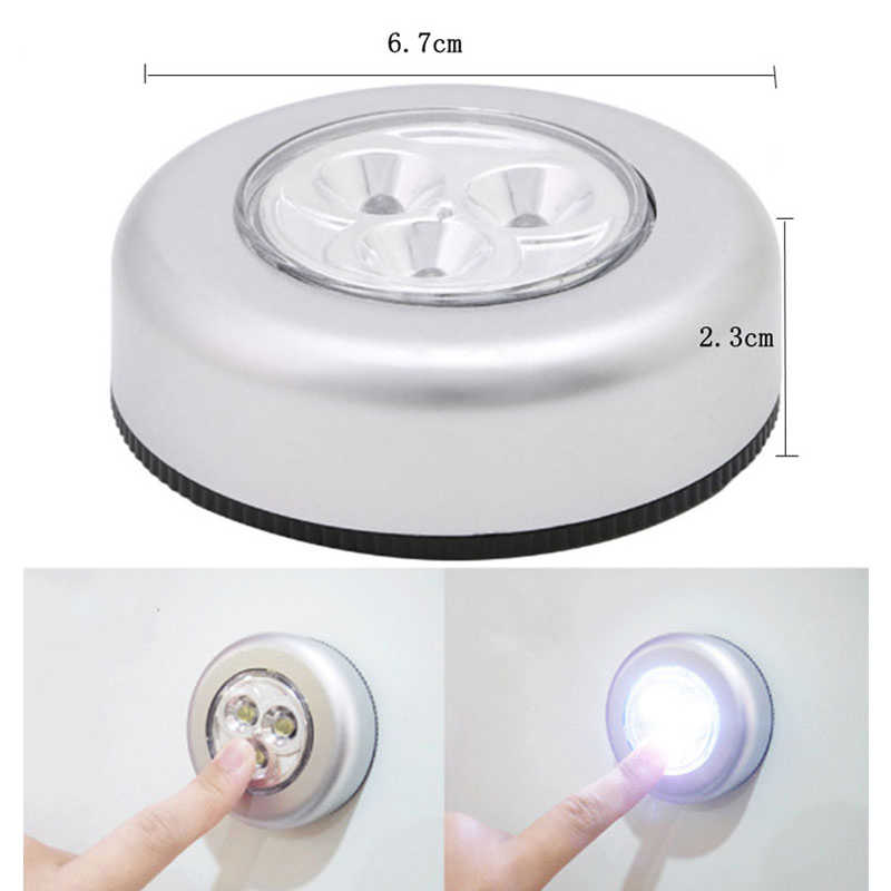 3 LED Night Light Magnetic Wireless Detector Light Wall Lamp Infrared Pat Pat Light Auto On/Off Cabinet Stairs Light