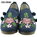 New 2017 Embroidered Shoes Women Casual Shoes Hemp Chinese Style Women Flats Flower Slip On Ladies Flat Shoes National SNE-668