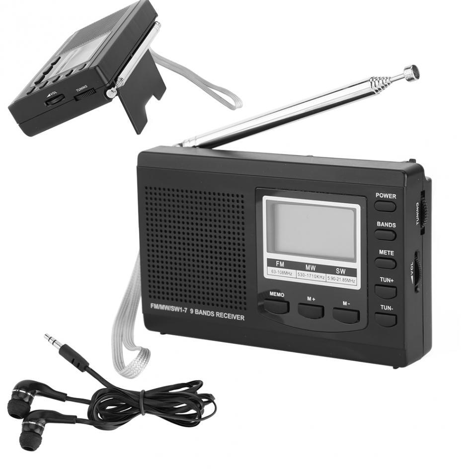 Portable Mini FM Radio DSP FM / MW / SW Receiver Emergency Radio with Digital Antenna FM Receiver Suppor Speaker + Earphone