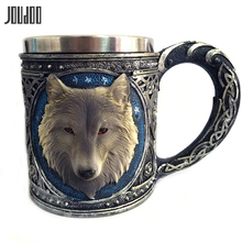 JOUDOO 450ml Home Water Cups 3D Wolf King Head Pattern Mug Retro Resin Stainless Steel Coffee Tea Cup Creative 35