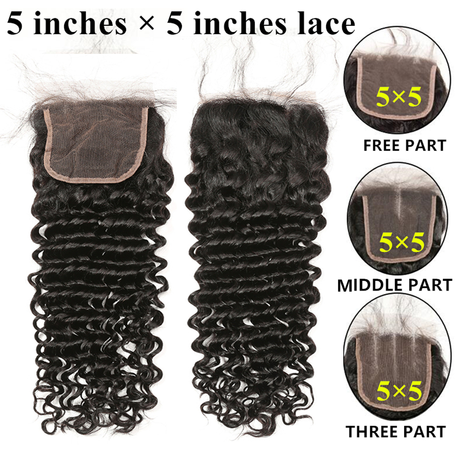 Brazilian Hair Closure 5x5 Lace Closure RXY 100% Remy Human Hair Deep Wave Closure Pre Plucked With Baby Hair 8-20