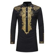 цена 2019 new ethnic print shirt with long stand collar top онлайн в 2017 году