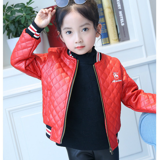936f0dc01 3 - 8 Years Girls Leather Autumn and Winter Children Plus Velvet Plus  Cotton Warm Jacket Windproof Fashion Jacket