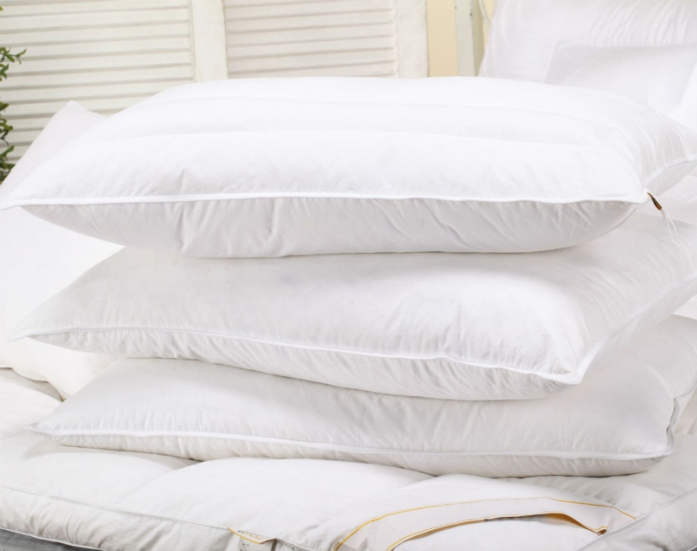 Peter Khanun Top Quality White Goose Feather Pillows Neck Health Care Pillow 100 Fine Cotton Allow