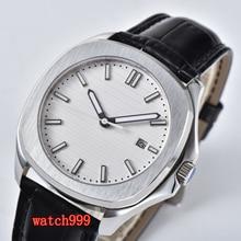 BLIGER 39 ミリメートルホワイトダイヤルサファイアガラス日付ムーブメント自動メンズ腕時計ステンレススチールベルト防水機械式時計