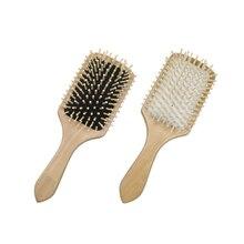 1 шт. Уход за волосами деревянный спа, массажная расческа весло остроконечная ручка зубная Щетка антистатическая подушка