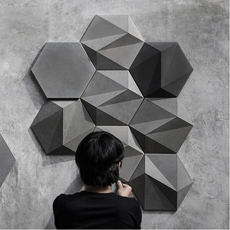 3D Geometric Concrete Wall Brick Silicone Mold Cement TV Background Wall Brick Mold Hexagon Plaster Mold