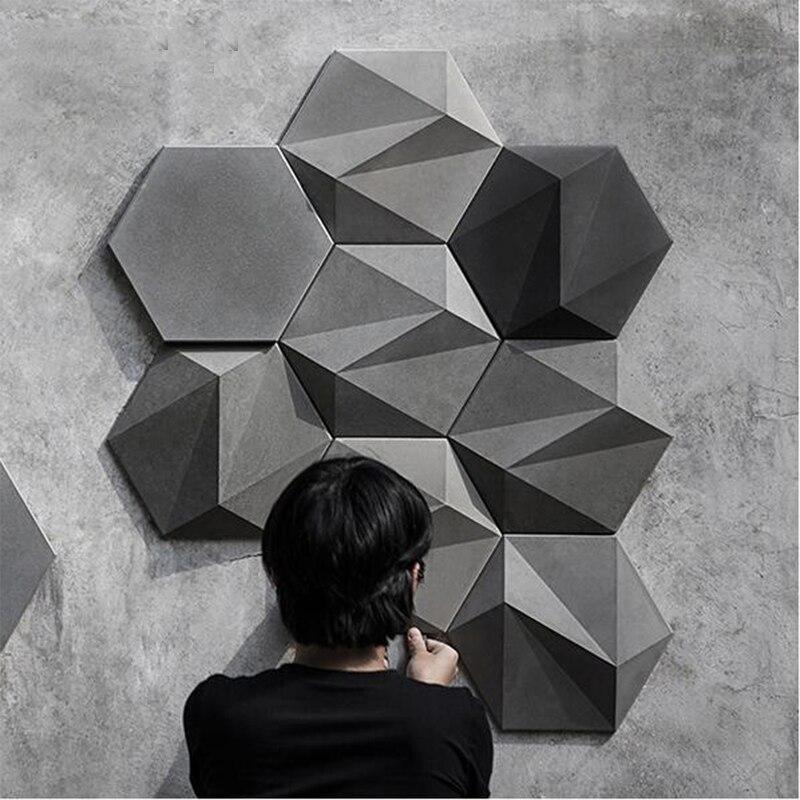 3D géométrique béton mur brique silicone moule ciment TV fond mur brique moule hexagone plâtre moule-in Moules à gâteau from Maison & Animalerie    1