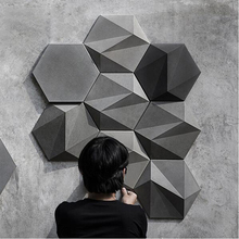 цена на 3D geometric concrete wall brick silicone mold cement TV background wall brick mold hexagon plaster mold