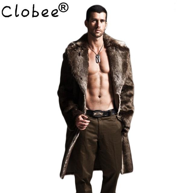 08f2bece3c29 Men Faux Fur Coat Winter Plus Size Faux Fur Jacket Men Parka Jackets Full  Length Leather Overcoats With Collar Long Fur Coat Man