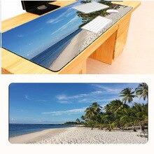 Mairuige Free Shipping Printing Blue Beach Large Black Overlock Mousepad Anti-Slip PC Laptop Gamer Speed Mice Mat As Gift