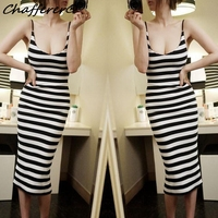 Chafferer New Striped Sling Long Sexy Lingerie Dress Women Slim Package Hip Cosplay Dance Nightclub Party Stage Uniform Dresses