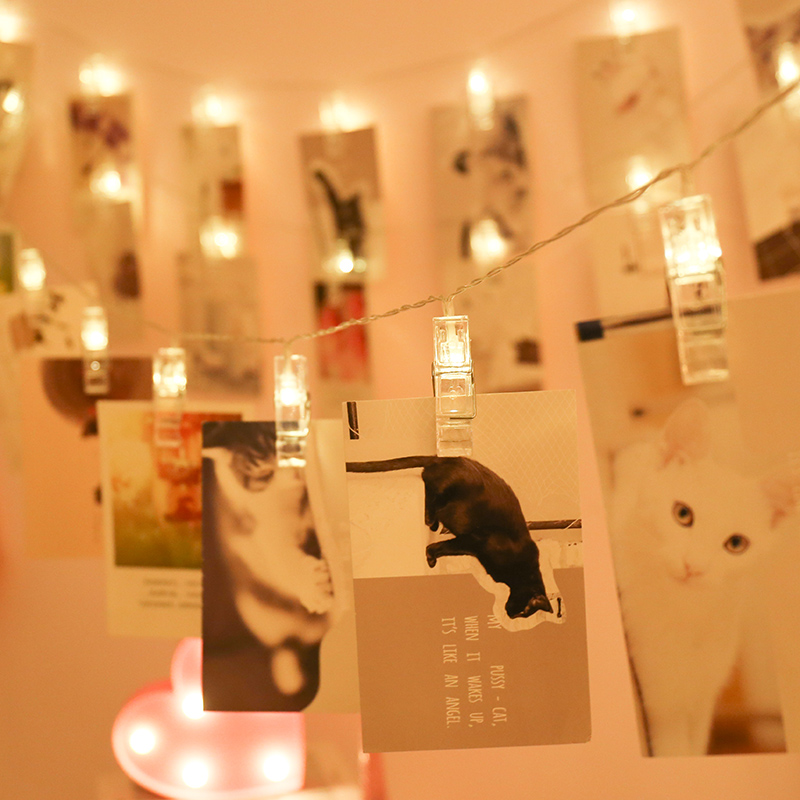 1.5M 2M Photo Clip Holder LED String Lights For Christmas New Year Party Wedding Home Decoration Fairy Lights