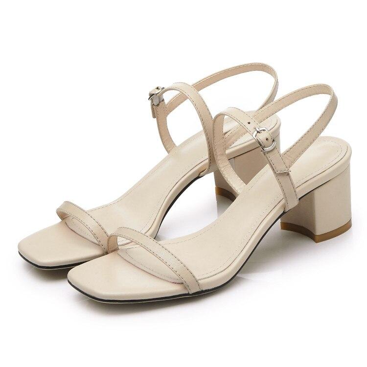 MLJUESE 2018 kvinnor sandaler Äkta läder spännerem Svart färg - Damskor - Foto 2