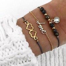 купить 3 Pcs/Set Simple Rope Chain Love Heart Charm Bracelets Bangles Set Gold Link Chain Black Beads Bracelet Lucky Friendship Jewelry дешево