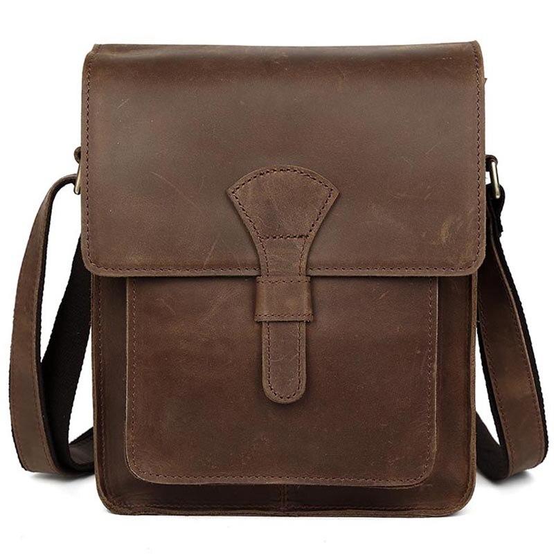 التغلب أعلى جلد طبيعي حقيبة كتف لباد خمر الرجال Crossbody حقيبة البني الداكن صغيرة حقائب رفرف على حقيبة ساع-في حقائب كروسبودي من حقائب وأمتعة على  مجموعة 1