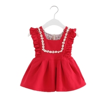 Preppy Style Infant Puff Sleeve Baby Girls Birthday Party Dresses Christening Toddler Princess Dress for 0-2 Yrs red pink