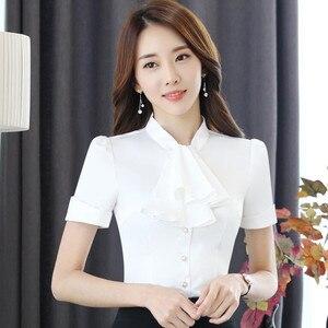 Image 4 - Babados gola casual feminina blusa feminina elegante rosa fino ajuste camisa senhoras topos escritório novo estilo moda trabalho wear