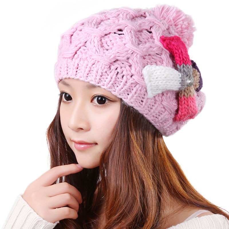 Cute Women Winter Warm Crochet Baggy Beanie Hat Cap Beret Ear Muff Handmade Knitted Hat 2017 winter women beanie skullies men hiphop hats knitted hat baggy crochet cap bonnets femme en laine homme gorros de lana