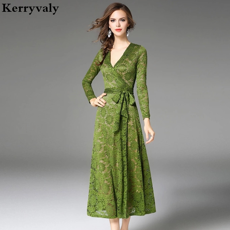 autumn women v neck sexy green lace dress robe femme ete. Black Bedroom Furniture Sets. Home Design Ideas