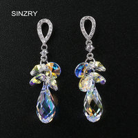 SINZRY Crystal Jewelry DIY Elegant Earrings 925 Sterling Silver Austria Crystal Handmade Rhinestone Drop Earrings For