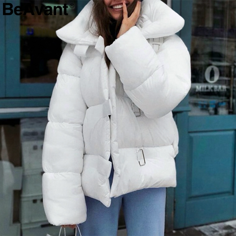 BeAvant Turndown collar oversized jacket coat female Buckle loose   parka   women coat 2018 Warm casual white winter coat overcoat