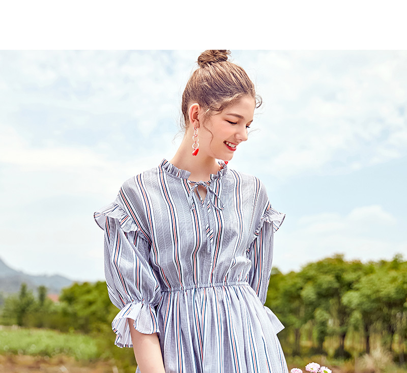 SEMIR women dress female 2018 autumn new retro striped dress loose thin dresses long flare sleeves clothing for woman 39